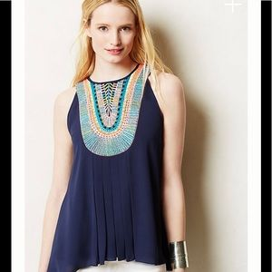 Anthropologie Embroidered Sleeveless Atoll Top